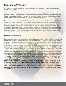 Lumedio Warranty CLICK TO ENLARGE